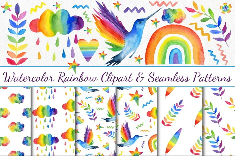 Watercolor Rainbow Clipart & Seamless Patterns