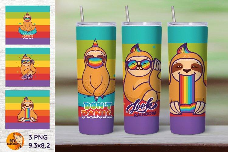 3 Skinny Tumbler Wrap. Sloth sublimation. Rainbow day.