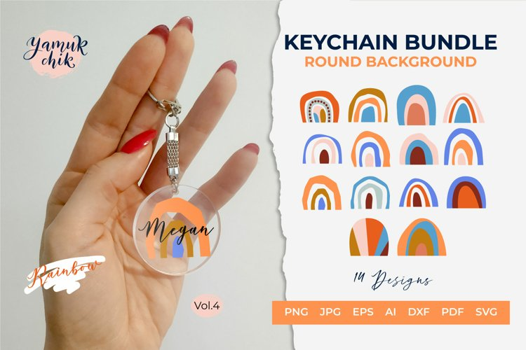 Rainbow keychain SVG, Keychain SVG Bundle,Round Keychain SVG