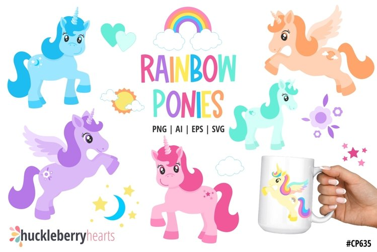 Rainbow Ponies Clipart
