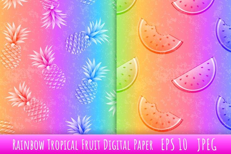 Rainbow Tropical fruit Digital Paper.