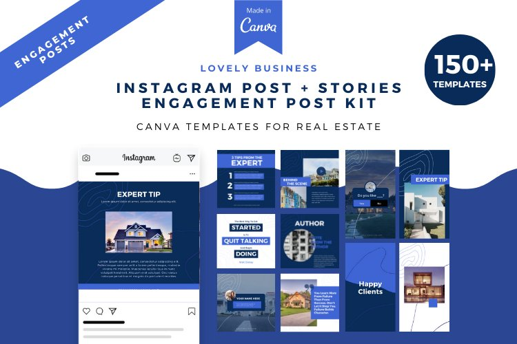 Real Estate, Instagram Post and Story Engagement Post, Canva