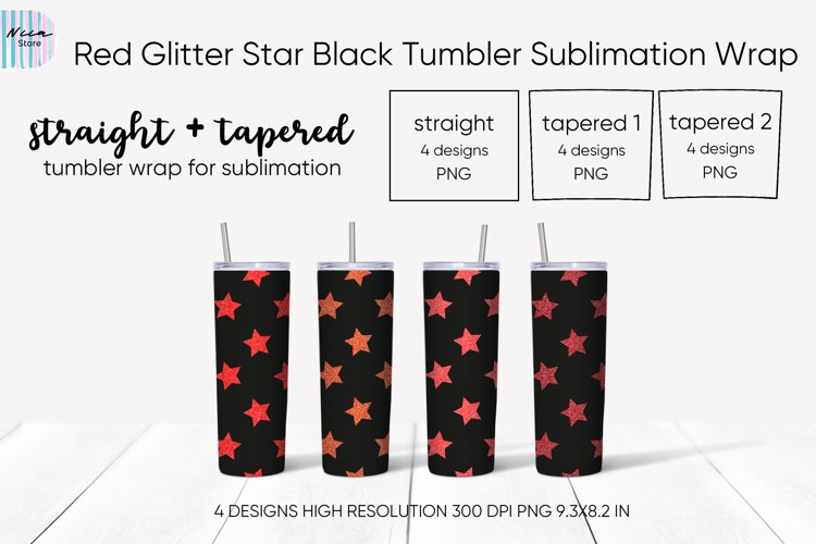 Red Glitter Star Seamless Black Tumbler Sublimation Wrap