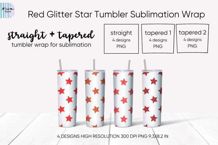 Red Glitter Star Skinny Seamless Tumbler Sublimation Wrap