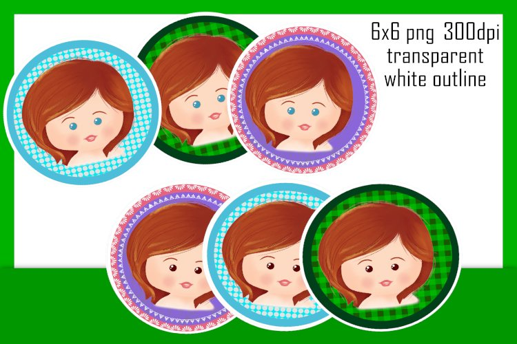 Unique Female stickers - 6x6 png transparent - 300dpi