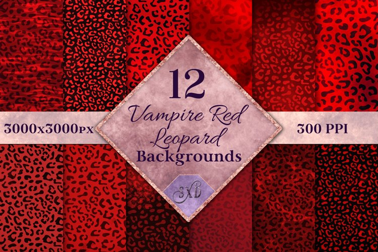 Vampire Red Leopard Print Backgrounds - 12 Image Textures example image 1