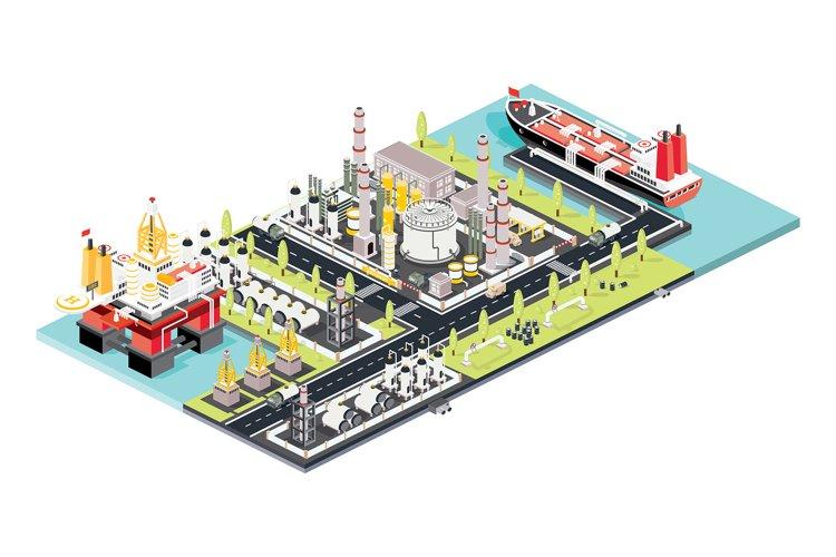 Refinery Plant. Oil Tank Farm. Maritime Port with Oil Tanker