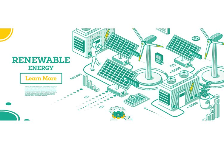 Renewable Green Energy Isometric Concept Isolated