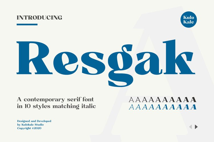 Resgak - Serif Family Font example image 1