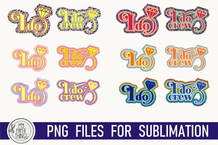 Retro Bridal party sublimation PNG files