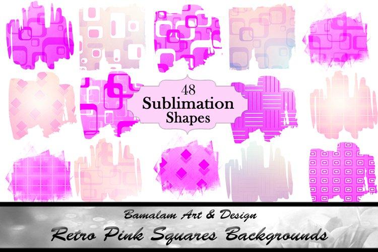 48 Retro Pink Squares Sublimation Shapes