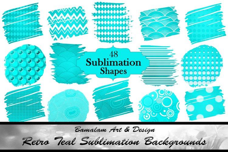 48 Teal Blue Retro Sublimation Shapes