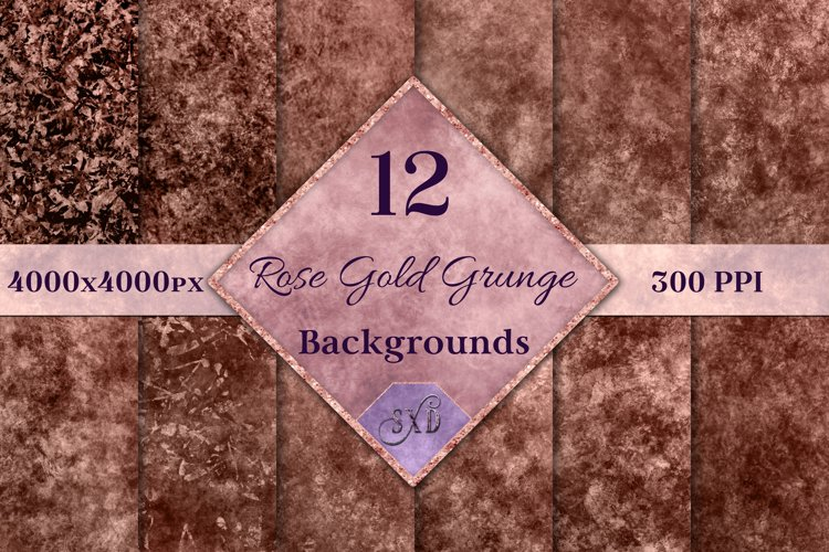 Rose Gold Grunge Backgrounds - 12 Distressed Grunge Textures example image 1