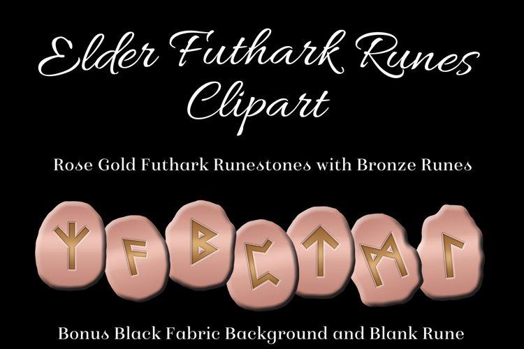 Rose Gold Elder Futhark Runes Set - Clipart Images example image 1