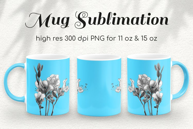 Rhododendron Neon Coffee Mug Sublimation Template 11 & 15 oz