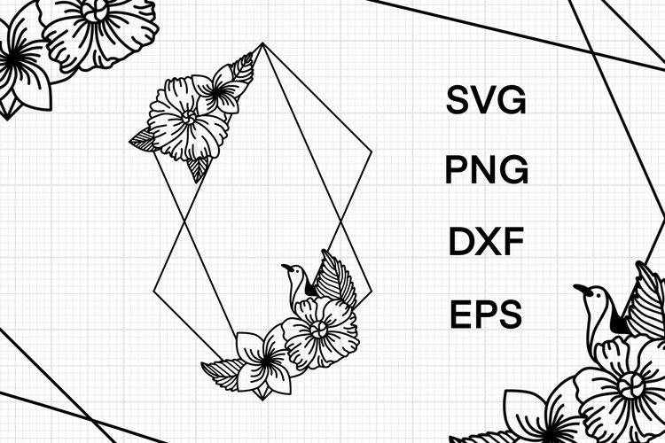 Floral rhombus frame svg
