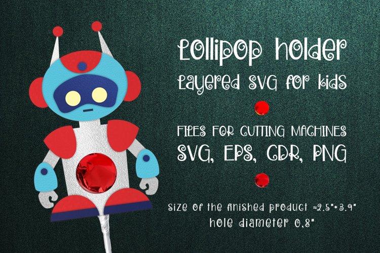 Robot Lollipop Holder template SVG