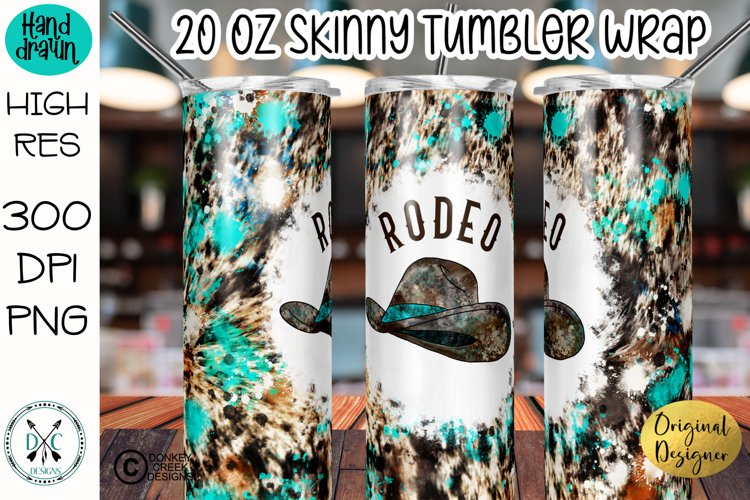 Sublimation Tumbler Wrap Cowhide and Turquoise Rodeo