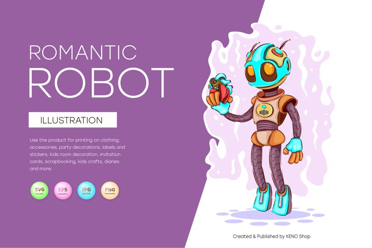 Romantic cartoon robot
