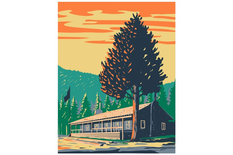 Roosevelt Lodge Cabins in Yellowstone National Park WPA Art