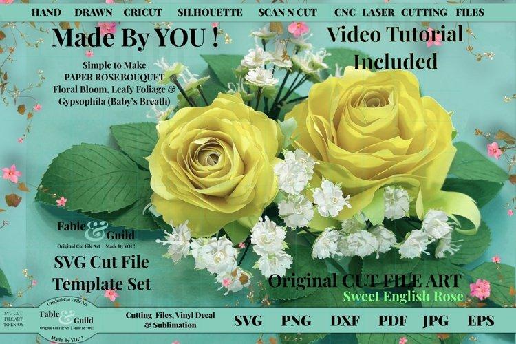 Paper Flower Rose Babys Breath SVG Leaves inc VIdeo tutorial