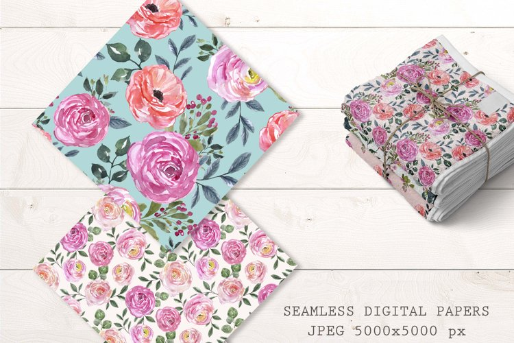 Blush Pink Roses Floral Seamless patterns Watercolor