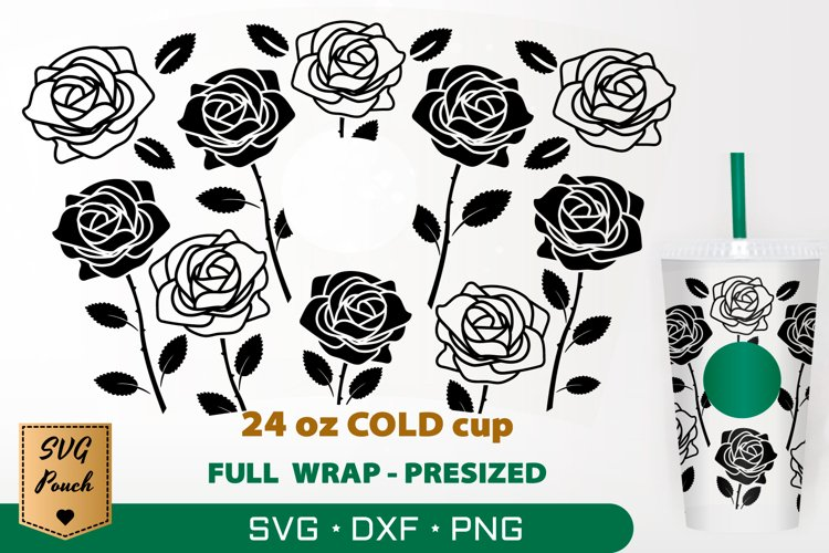 Roses cup wrap SVG example image 1