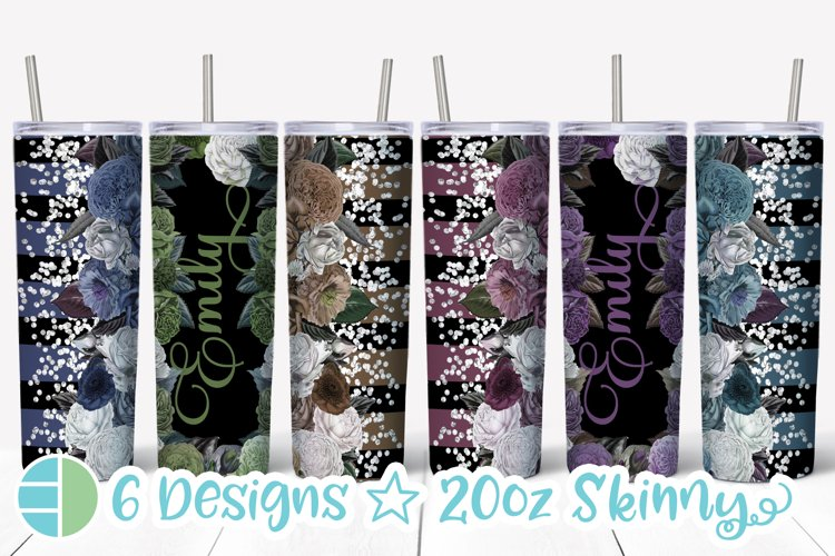 Custom Skinny Tumbler Sublimation Designs Roses - Add a Name example image 1