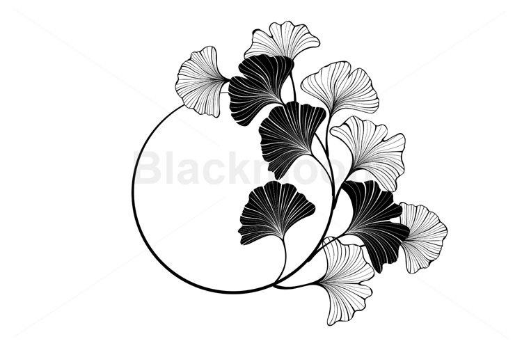 Round Banner with Silhouette Leaves Ginkgo Biloba example image 1