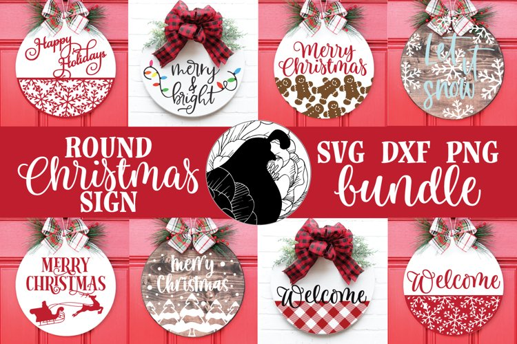 Christmas Sign SVG Bundle, Round Christmas Sign Bundle example image 1