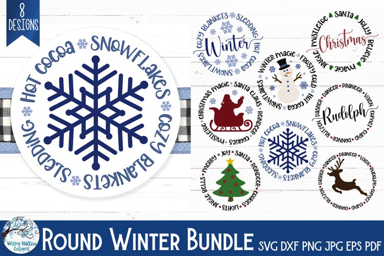 Round Winter SVG Bundle | Christmas, Santa Claus, Reindeer