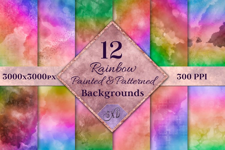Rainbow Painted and Patterned Backgrounds - 12 Images example image 1
