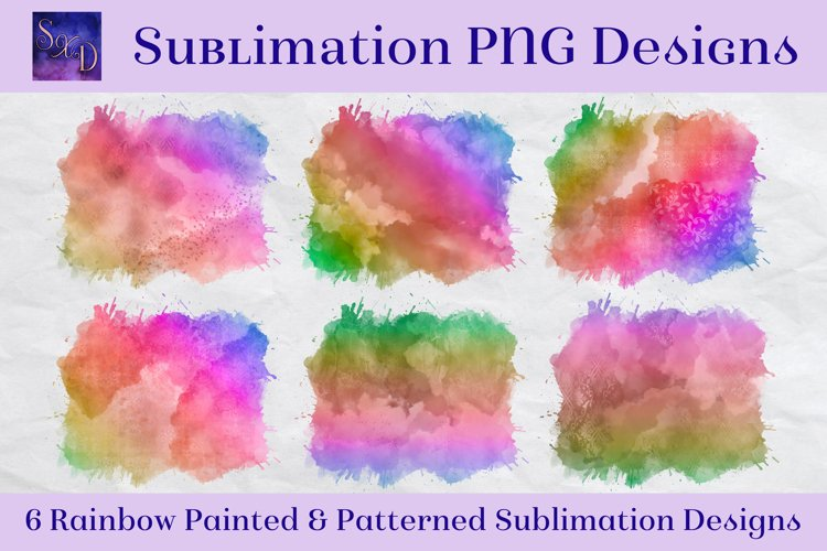 Sublimation PNG Designs - Rainbow Painted and Patterned example image 1