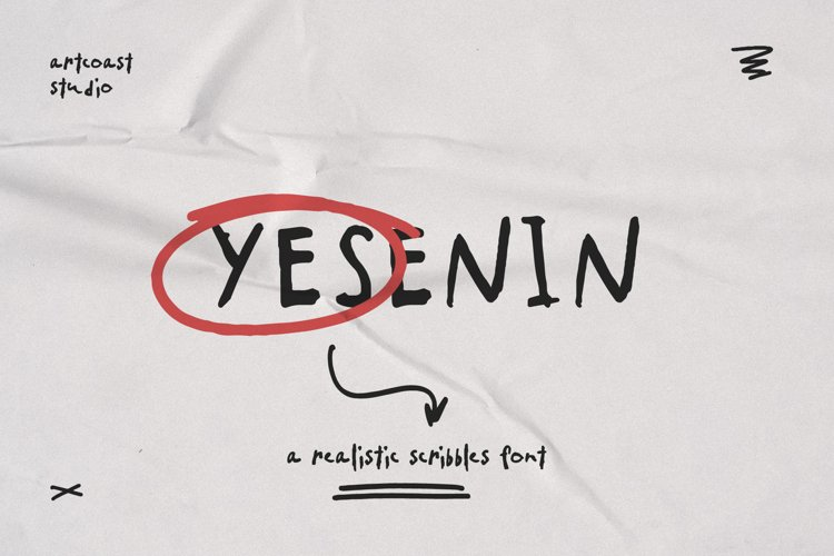 SA Yesenin Realistic Scribbles Font example image 1