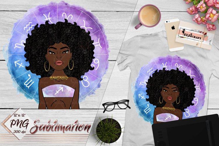 Sagittarius Sign, Zodiac, Afro Woman Sublimation Designs