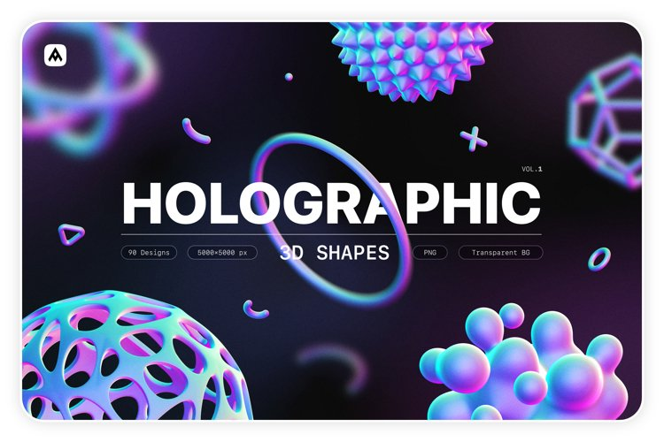 Holographic 3D shapes collection