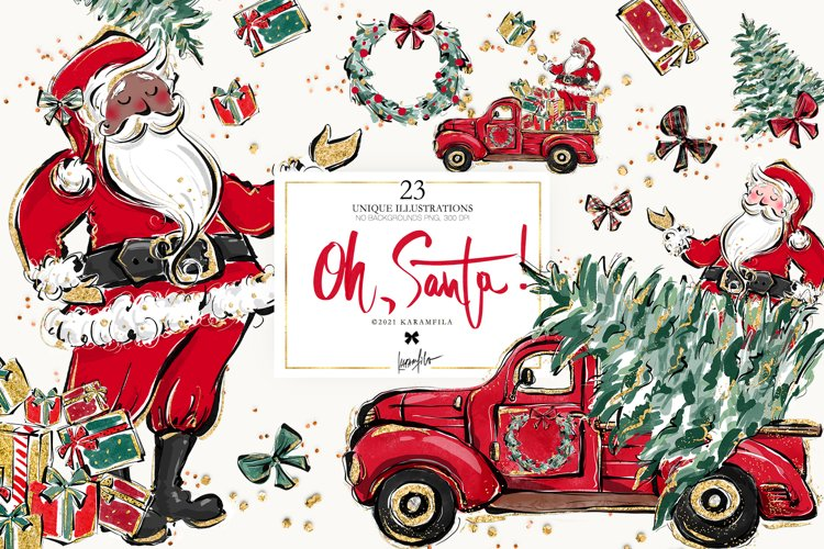 Santa Claus Christmas Truck Clipart POD Sublimation Graphics
