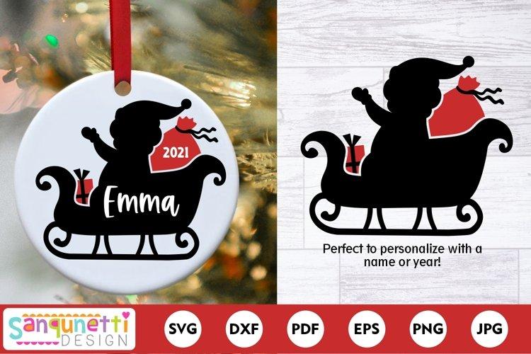 Santa Sleigh Christmas SVG example image 1