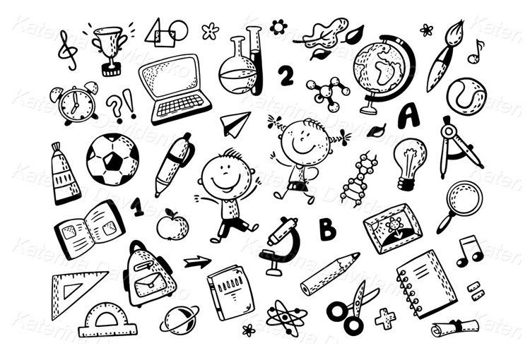 Schoolkids with lots of school things. Outline clipart