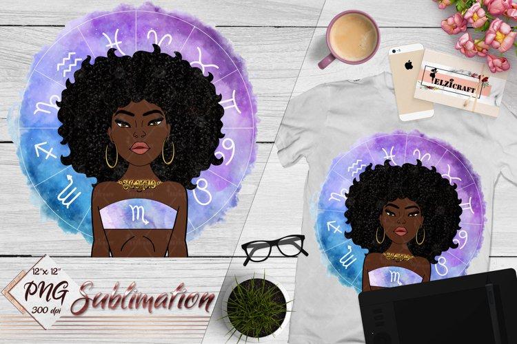 Scorpio Sign, Zodiac, Afro Woman Sublimation Designs