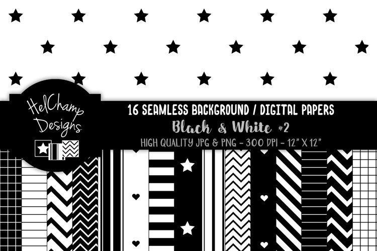 Black and White geometric - 16 seamless Digital Papers