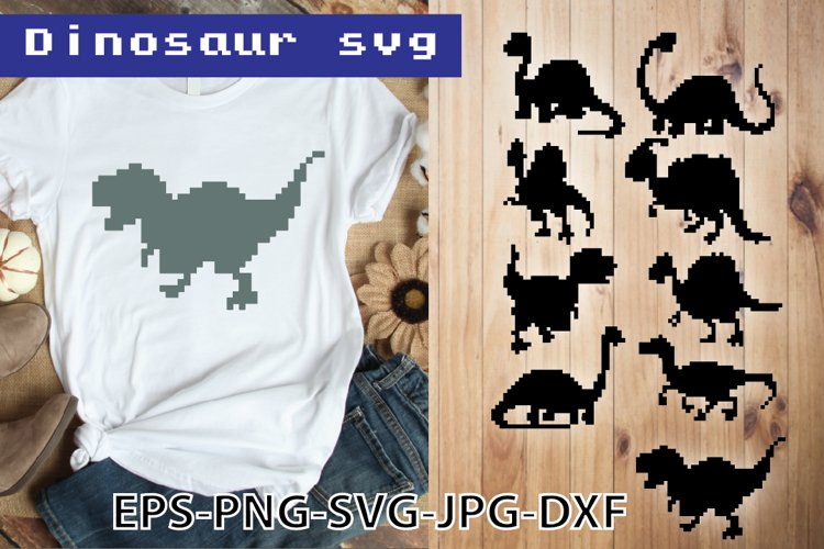 Dinosaur svg T rex svg Pixel animals Dino svg Cut file