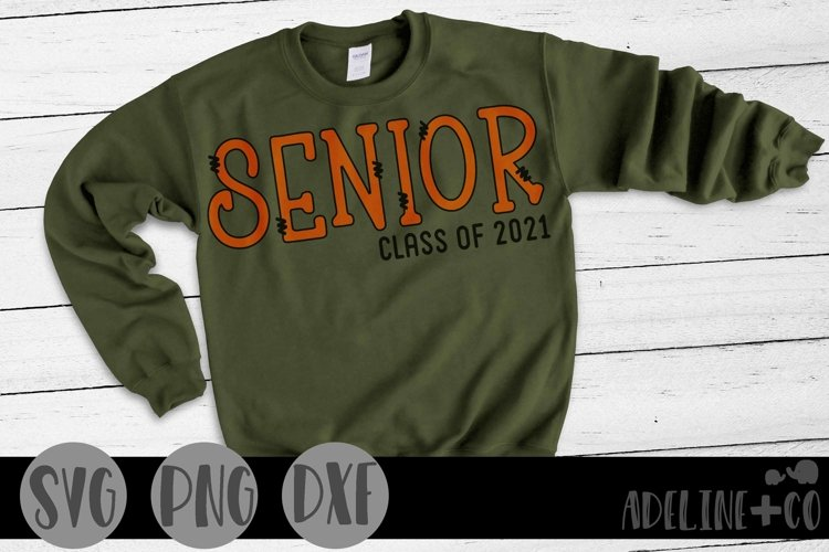 Senior class of 2021 with a doodle font