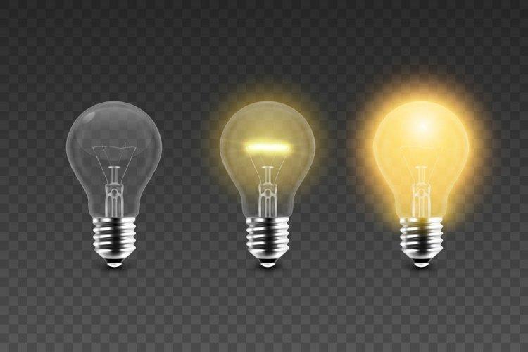 Realistic Light Bulb. Vector Set.