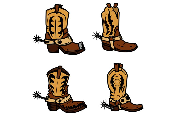 Set of the cowboy boots illustrations. Design elements