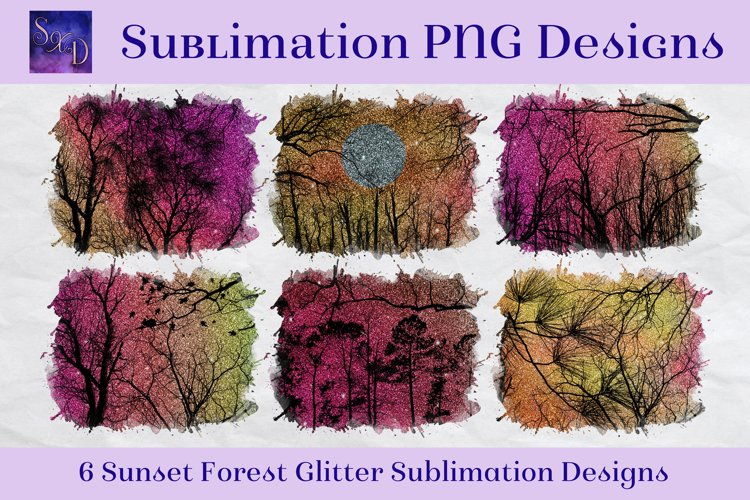 Sublimation PNG Designs - Sunset Forest Glitter example image 1