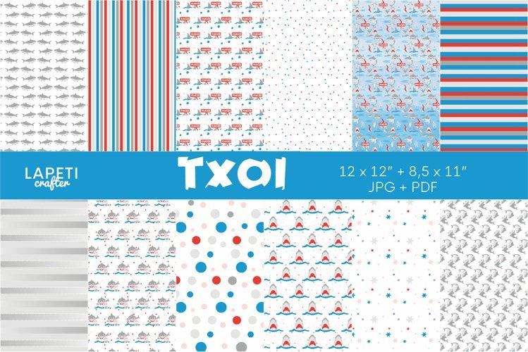 Shark digital papers   Scrapbook printable paper for kids