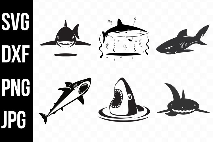 Shark Bundle, Shark Silhouette Designs svg jpg dxf png