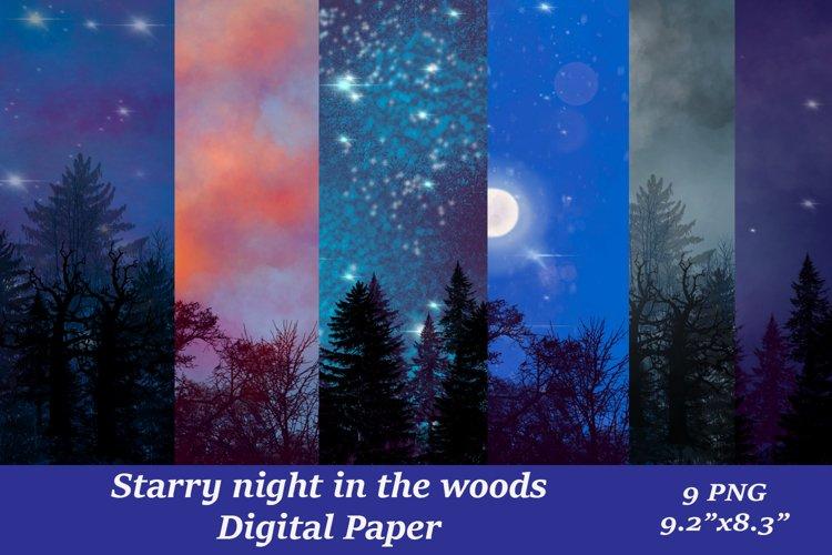 Shimmer Trees Night Skyline Digital Paper Sublimation PNG