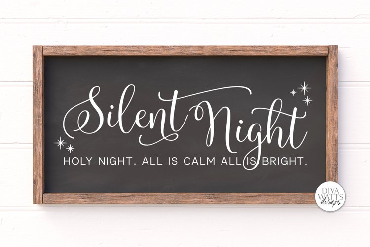 Silent Night Holy Night SVG | Christmas Sign Design example image 1